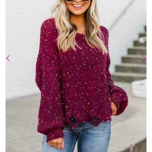 Pink Lily Burgundy Confetti Sweater